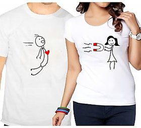 Heart Magnet Couple Combo T-shirts