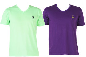Vimal-Jonney V Neck Multicolor Cotton Tshirts For Men(Pack Of 2)