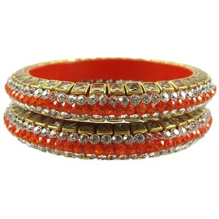 Sukriti Kundan Orange Lac Bangle Set of 2 for Women
