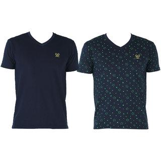 Vimal-Jonney V Neck Multicolor Cotton Tshirts For Men(Pack Of 2)