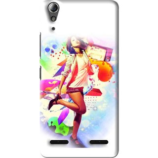 Snooky Printed Shopping Girl Mobile Back Cover For Lenovo A6000 Plus - Multi