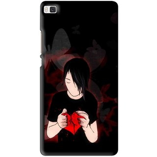 Snooky Printed Broken Heart Mobile Back Cover For Huawei Ascend P8 - Multi
