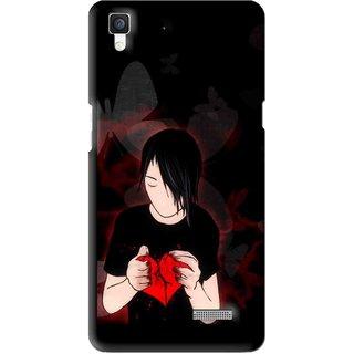 Snooky Printed Broken Heart Mobile Back Cover For Oppo R7 - Multi