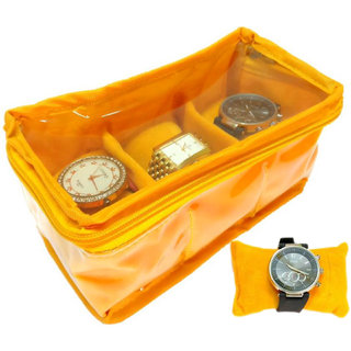 Atorakushon 3 slot Watch Bracelet Jewellery Bangle Holder Gift Case Storage Vanity Box (Saffron)