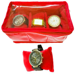Atorakushon 3 slot Watch Bracelet Jewellery Bangle Holder Gift Case Storage Vanity Box (Red)