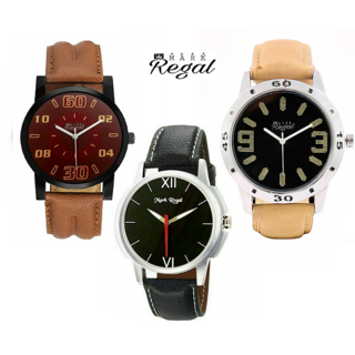 Mark Regal Leather Strap Men's Quartz Watches Combo Of 3
