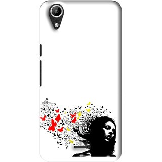 Snooky Printed Butterfly Girl Mobile Back Cover For Micromax Bolt Q338 - Multi