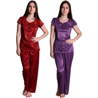 Senslife Maroon  Purple Nightwear Combo Set of 2 Night Suits Top  Pajama Set SLCOM001A