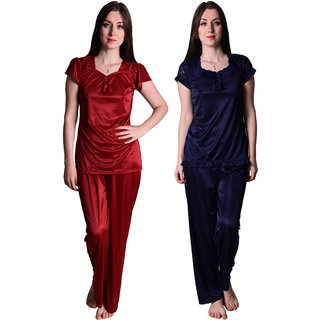 069c397563 Buy Senslife Maroon Navy Blue Nightwear Combo Set of 2 Night Suits Top  Pajama Set SLCOM001B Online - Get 76% Off