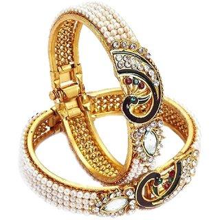 Bhagya Lakshmi Dancing Peacock Pearl Studded Antique Gold Plated Bangle kada Bracelet set Jewellery for women and Girl