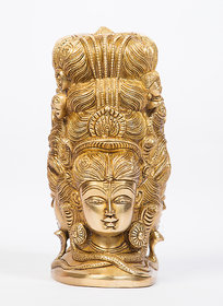Arihant Craf Hindu God Shiva Parvati Three Face Idol Mahadev Statue Sculpture Hand Work Showpiece 10.5 cm (Brass, Gold)