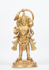 Arihant Craft Hindu God Hanuman Idol Mahavir statue Bajrangbali Sculpture Hand Work Showpiece  23 cm (Brass, Gold)