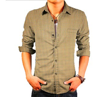 yellow check imported quality shirt