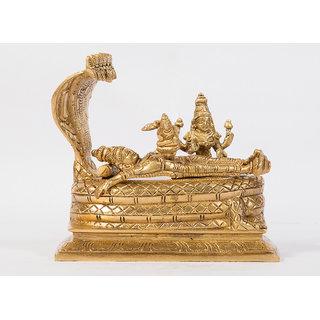 Arihant Craft Hindu God Lakshmi Narayan Idol Vishnu Laxmi Statue Sculpture Hand Made Showpiece  15 cm (Brass, Gold)