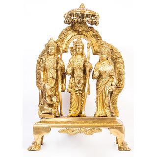 Arihant Craft Ram Darbar Statue Ram Sita Laxman Hanuman Idol Sculpture Hand Craft Showpiece  36.5 cm (Brass, Gold)