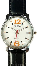 Rosra Black Round Leather Strap Analog Watch For Men's