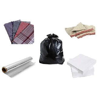 Combo offer Garbage Bag, Duster , Napkin , Foil and Tissue Paper Free
