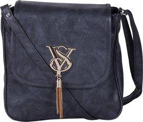 AshikaBlack Leatherette Sling Bag