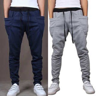 188955d5b4863 Combo of Navy Blue And Grey Cotton Joggers For Men