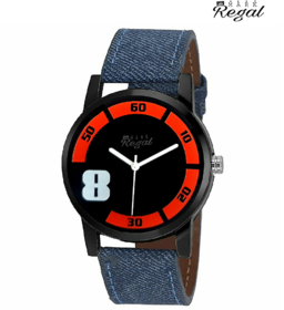 Mark Regal Black Dail Blue Leather Strap Watch For Mens
