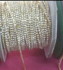 Line stones chain for all type of jewellery decorations , white colour , 5 mtrs