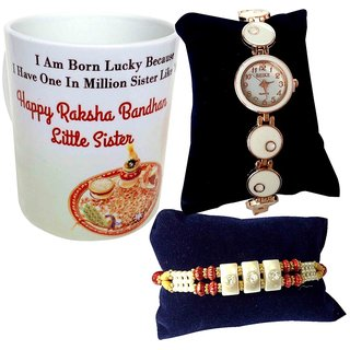 Rakhi Gift Hamper - Unique Arts Rakhi with Coffee Mug and Round dial white designer Watch for Sister (UARHM06)