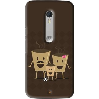 Snooky Printed Wake Up Coffee Mobile Back Cover For Motorola Moto X Play - Brown