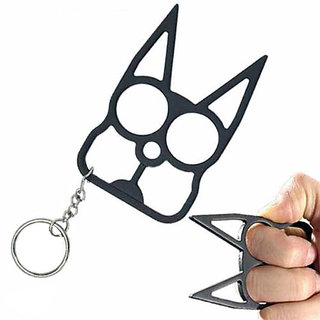 Spikey Cat Brass Knuckle and Keychain For Women Self Defense