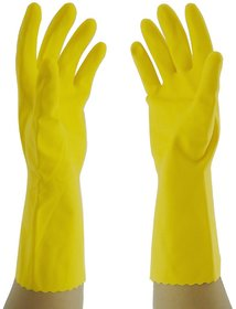 Primeway Rubberex Flocklined Rubber Hand Gloves, Medium, 1 Pair, Yellow