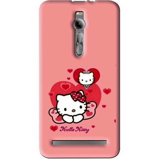 Snooky Printed Pinky Kitty Mobile Back Cover For Asus Zenfone 2 - Multi