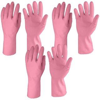 Rubber Hand Gloves, Medium, Set of 3 Pairs, Pink