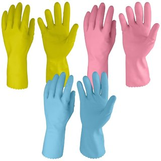 Rubberex Flocklined Rubber Hand Gloves, Medium, Set of3 Pairs, Assorted
