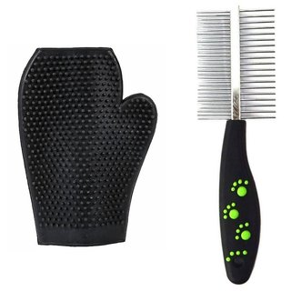 W9 Imported High Quality Double Sided Pet Comb Stainless Steel Pin Dog Grooming Brush With Grooming Gloves (Black)