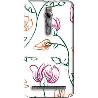 Snooky Printed Flower Sketch Mobile Back Cover For Asus Zenfone 2 - Multi