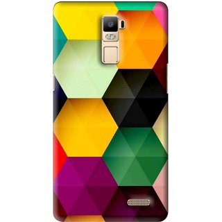 Snooky Printed Hexagon Mobile Back Cover For Oppo R7 Plus - Multi