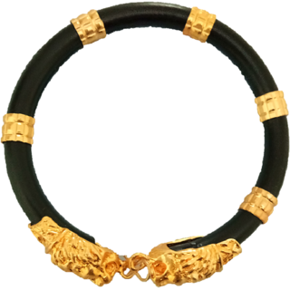 Gold Plated Lion Face Fashion Kada Bracelet