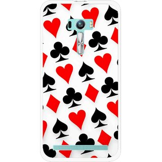 Snooky Printed Playing Cards Mobile Back Cover For Asus Zenfone Selfie - Multi