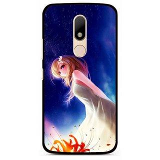 Snooky Printed Angel Girl Mobile Back Cover For Motorola Moto M - Blue
