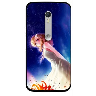 Snooky Printed Angel Girl Mobile Back Cover For Motorola Moto X Style - Blue