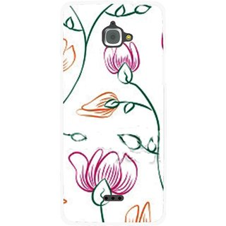 Snooky Printed Flower Sketch Mobile Back Cover For Infocus M350 - White