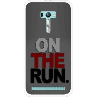 Snooky Printed On The Run Mobile Back Cover For Asus Zenfone Selfie - Grey