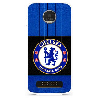 Snooky Printed FootBall Club Mobile Back Cover For Moto Z Play - Blue