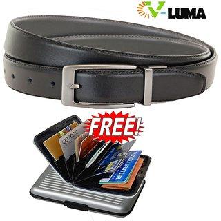 V-Luma Black Leather Belt With Free Credit Card Holder For Men's V-Luma Man's Le