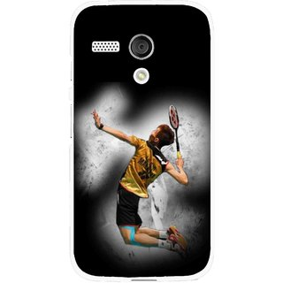 Snooky Printed Badminton Mania Mobile Back Cover For Moto G - Black