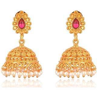 Fab Jewel Fashionable Gold Alloy Jhumki Earrings for Women