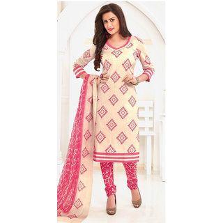 Miss 'n' Mams Cotton printed Top Dress Material with printed bottom and dupatta