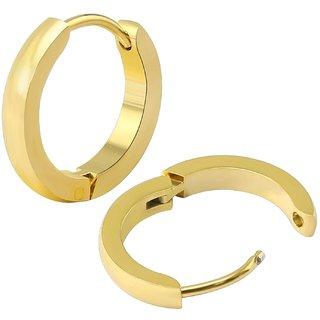 Classic Gold Plain Thin Cambered Huggie Hoop Ear Lobe Earrings stud for Men  Women