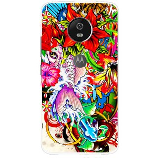 Snooky Printed Horny Flowers Mobile Back Cover For Moto G5 Plus - Multi
