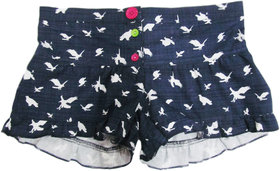 Girls Printed Shorts with Contrast Buttons