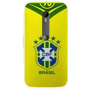 Snooky Printed Brasil Mobile Back Cover For Moto G3 - Multi
